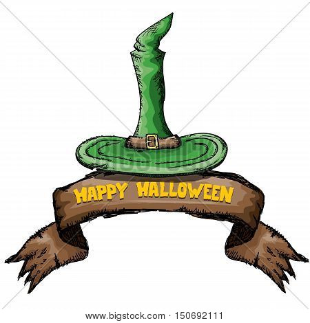 witch hat isolated on white. vector halloween doodle art green wizard hat