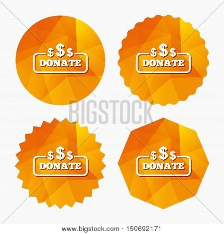 Donate sign icon. Dollar usd symbol. Triangular low poly buttons with flat icon. Vector