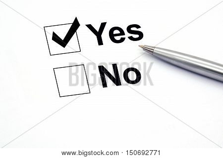 pen over document select Yes. business checkbox