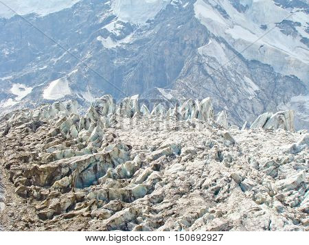 Beautiful ice seracs in a Caucasian mountains