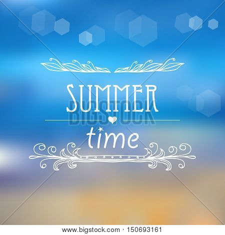 Summer time background. Poster on tropical beach background. Vector eps10 illustration