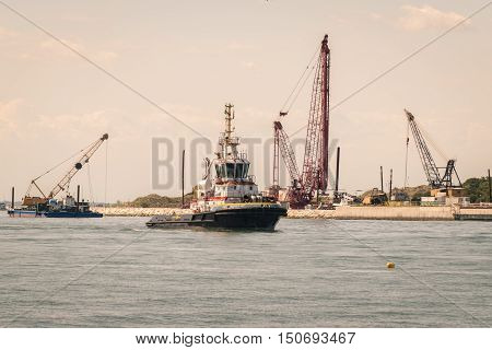 Venice Italy - May 5 2016: Construction site for the realization of the movable bulkheads system to save Venice from tides.