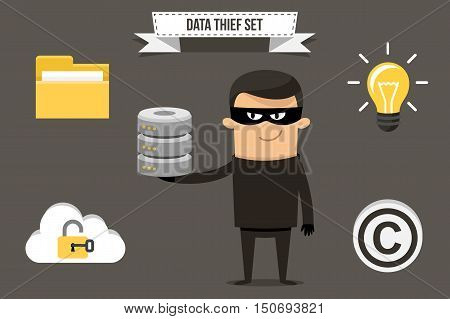 Vector thief with stolen data icons: folder cloud storage database idea and copyright symbol. Each object can be placed in character's hand. Flat style.
