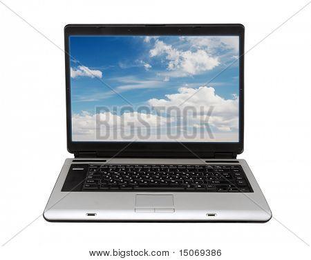 Laptop auf weißem Hintergrund mit Beschneidungspfad