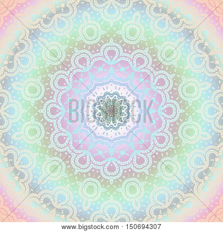 Abstract geometric seamless background multicolored. Regular round ornament in pastel shades, ornate and dreamy.
