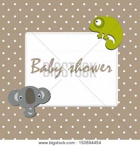 Baby festive photo frame with polka dot stickers a Koala, and chameleon. Baby Arrival and Shower. Congratulation, invitation, template. baby vector illustration.