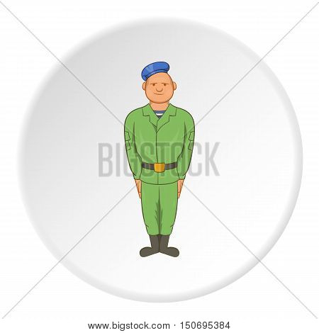 Paratrooper icon in cartoon style isolated on white circle background. Military symbol vector illustration