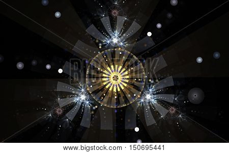 Fractal illustration symbol emblem ornament triangle of strips with rounded edges with a yellow circle in the center and around the pattern and balls on a black background.
