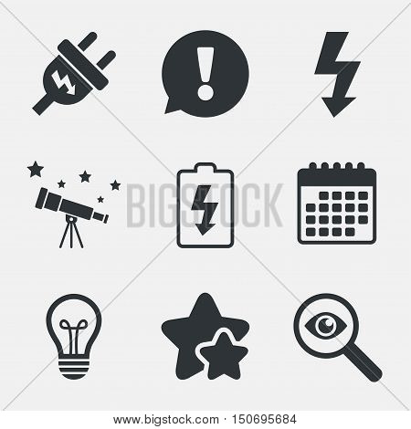 Electric plug icon. Lamp bulb and battery symbols. Low electricity and idea signs. Attention, investigate and stars icons. Telescope and calendar signs. Vector