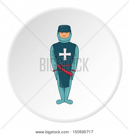 Warrior crusader icon in cartoon style isolated on white circle background. Military symbol vector illustration