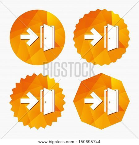 Emergency exit sign icon. Door with right arrow symbol. Fire exit. Triangular low poly buttons with flat icon. Vector