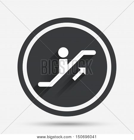 Escalator staircase icon. Elevator moving stairs up symbol. Circle flat button with shadow and border. Vector