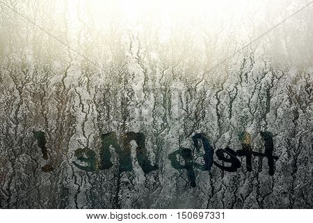 3d illustration of a help request on frosty glass
