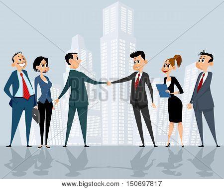 Vector illustration of a businessteams leaders handshake