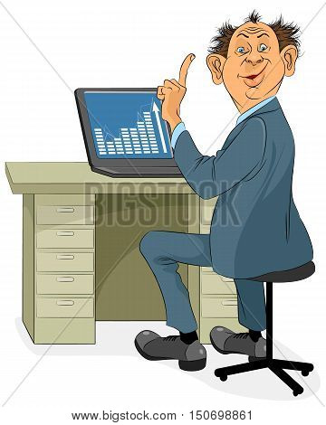 Vector illustration of a businessman with laptop