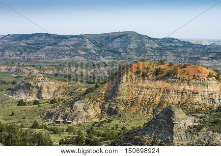 Scenic view of the Painted Canyon in Theodore Roosevelt National Park North Dakota USA