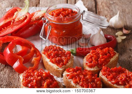 Appetizer Ajvar From Peppers With Garlic Close-up. Horizontal