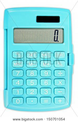 Calculator in turquoise color with solar panel isolated on white background