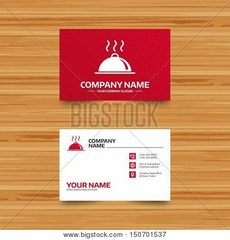 Business card template. Food platter serving sign icon. Table setting in restaurant symbol. Hot warm meal. Phone, globe and pointer icons. Visiting card design. Vector