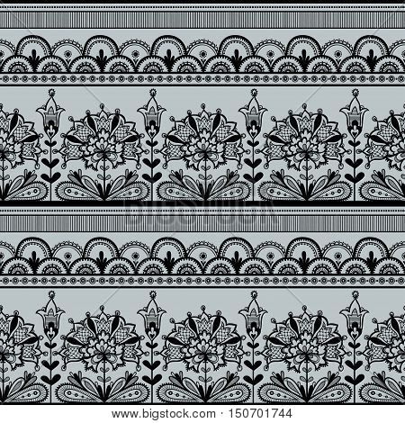 Seamless Black Lace Pattern. Black lace vector design.