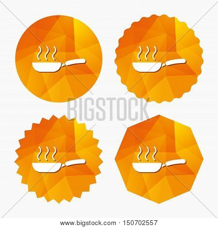 Frying pan sign icon. Fry or roast food symbol. Triangular low poly buttons with flat icon. Vector