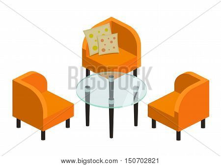 upholstered furniture on low legs and a glass coffee table, vector illustration. Chair and armchair isometric set. Interior seat furniture for business or home. vector furniture icons in bright colors