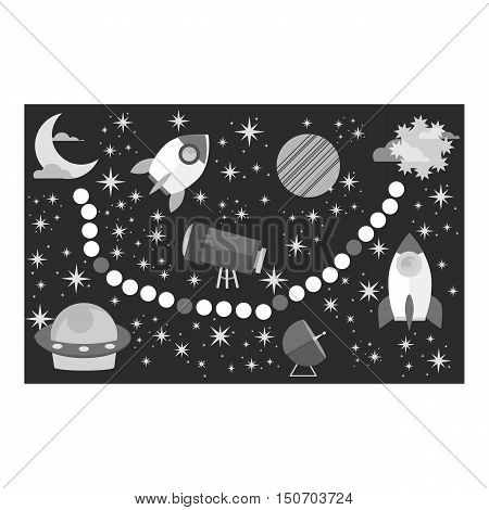 Board game for children icon in monochrome style isolated on white background. Board games symbol vector illustration.
