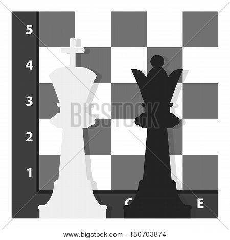 Chess icon in monochrome style isolated on white background. Board games symbol vector illustration.