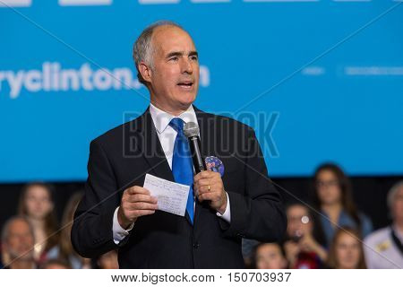 Harrisburg PA - October 4 2016: PA Senator Democrat Bob Casey speaks at a rally for Presidential candidate Hillary Clinton in Harrisburg.