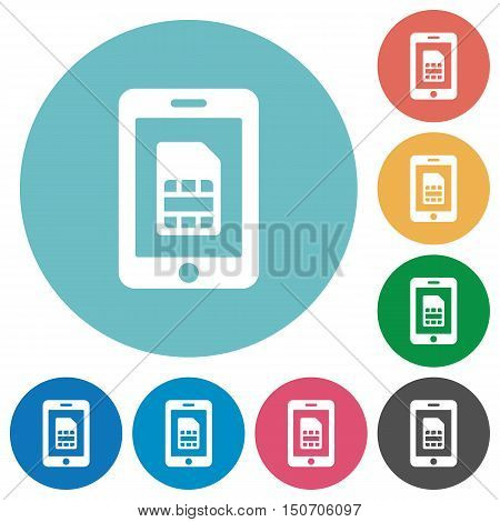 Flat mobile simcard icon set on round color background.