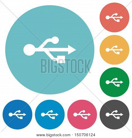 Flat USB connection icon set on round color background.