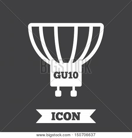 Light bulb icon. Lamp GU10 socket symbol. Led or halogen light sign. Graphic design element. Flat gU10 lamp symbol on dark background. Vector