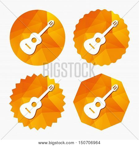 Acoustic guitar sign icon. Music symbol. Triangular low poly buttons with flat icon. Vector