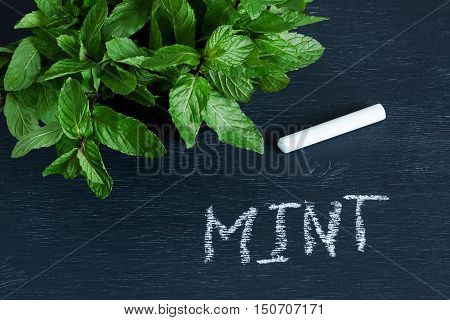 Mint leaves and the word