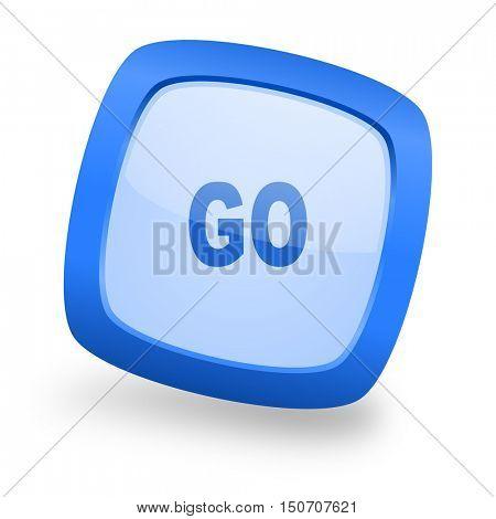 go blue glossy web design icon