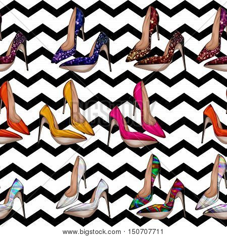 Seamless Pattern - All over background with stiletto shoes in various bright colors