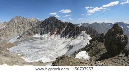 Mountain and glacier of the Central Barkrak. The Western Tien-Shan. Uzbekistan.