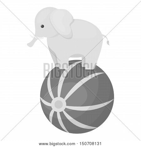 Circus elephant icon in monochrome style isolated on white background. Circus symbol vector illustration.