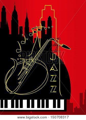 Saxophone Motif - Retro Illustration. New York jazz.