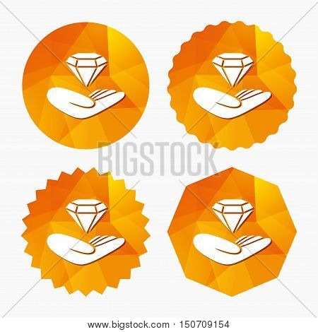 Jewelry insurance sign. Hand holds diamond symbol. Brilliant insurance. Triangular low poly buttons with flat icon. Vector