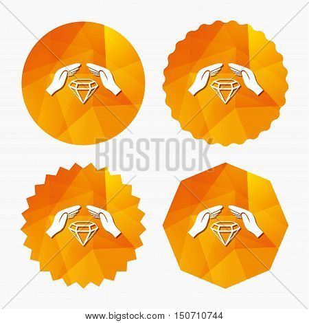 Jewelry insurance sign icon. Hands protect cover diamonds symbol. Brilliants insurance. Triangular low poly buttons with flat icon. Vector