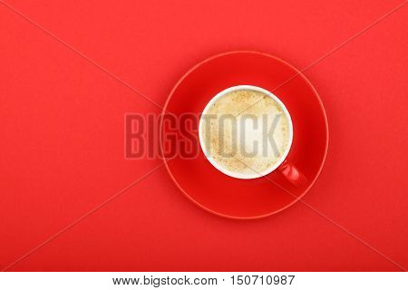 One Latte Cappuccino Frothy Coffee Cup On Red