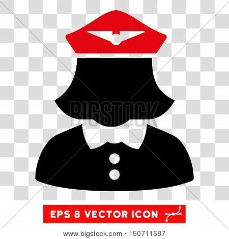 Vector Airline Stewardess EPS vector pictogram. Illustration style is flat iconic bicolor intensive red and black symbol on a transparent background.