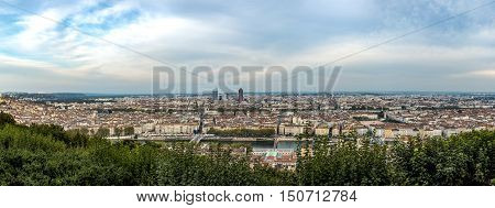 Aerial view of Lyon the third largest city in France with the Rhone river goes through its historic center