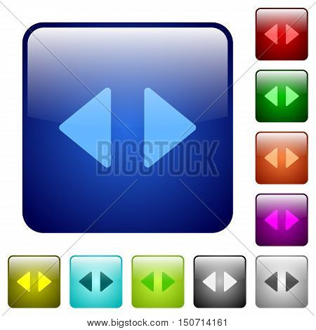 Set of horizontal control arrows color glass rounded square buttons