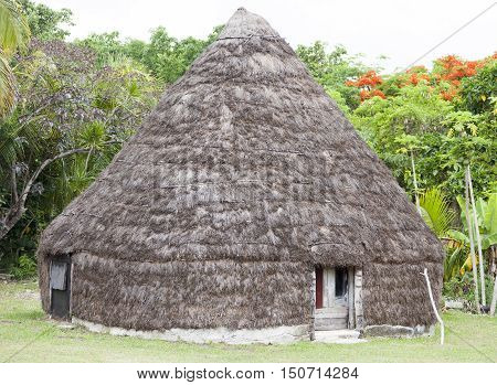The traditional hut in Easo village (Lifou island New Caledonia).