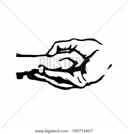 Dog paw in human hand abstract illustration on white background. Symbol care pet and care. Vector illustration