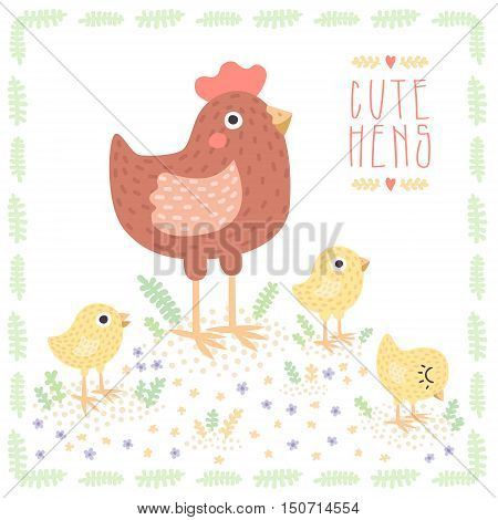 Cute light brown cartoon hen with baby chickens vector illustration.