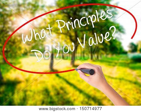 Woman Hand Writing What Principles Do You Value? With A Marker Over Transparent Board