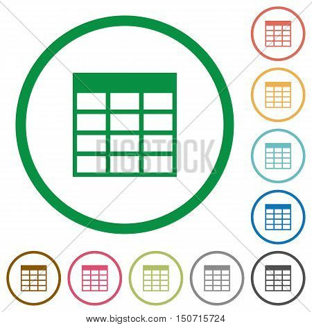 Set of Spreadsheet table color round outlined flat icons on white background